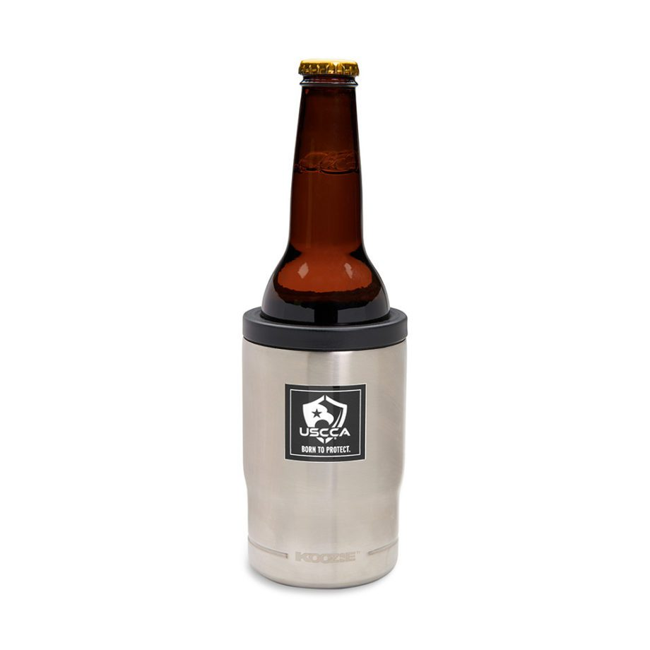 USCCA Born To Protect 3-in-1 Koozie Cooler, Bottle Holder, Tumbler in bottle holder view