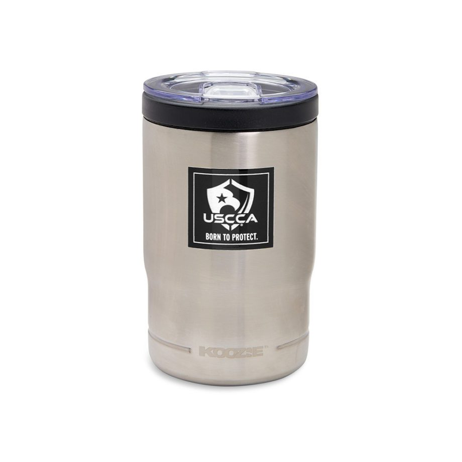 USCCA Born To Protect 3-in-1 Koozie Cooler, Bottle Holder, Tumbler in tumbler view