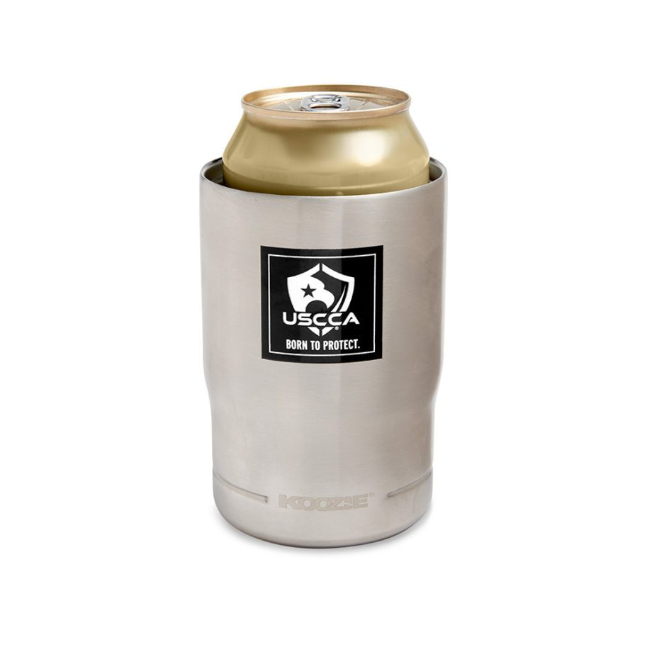 USCCA Born To Protect 3-in-1 Koozie Cooler, Bottle Holder, Tumbler in koozie view