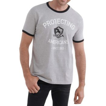 On figure-USCCA Men's Protecting Americans Ringer T-Shirt