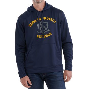 On figure-USCCA Men's Born To Protect Est. Hooded Sweatshirt