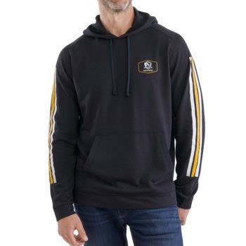On figure-USCCA Men's Born to Protect Arm Striped Hooded Sweatshirt