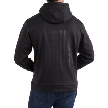 On figure-Back-USCCA Men's Tonal Flag Performance Hooded Sweatshirt