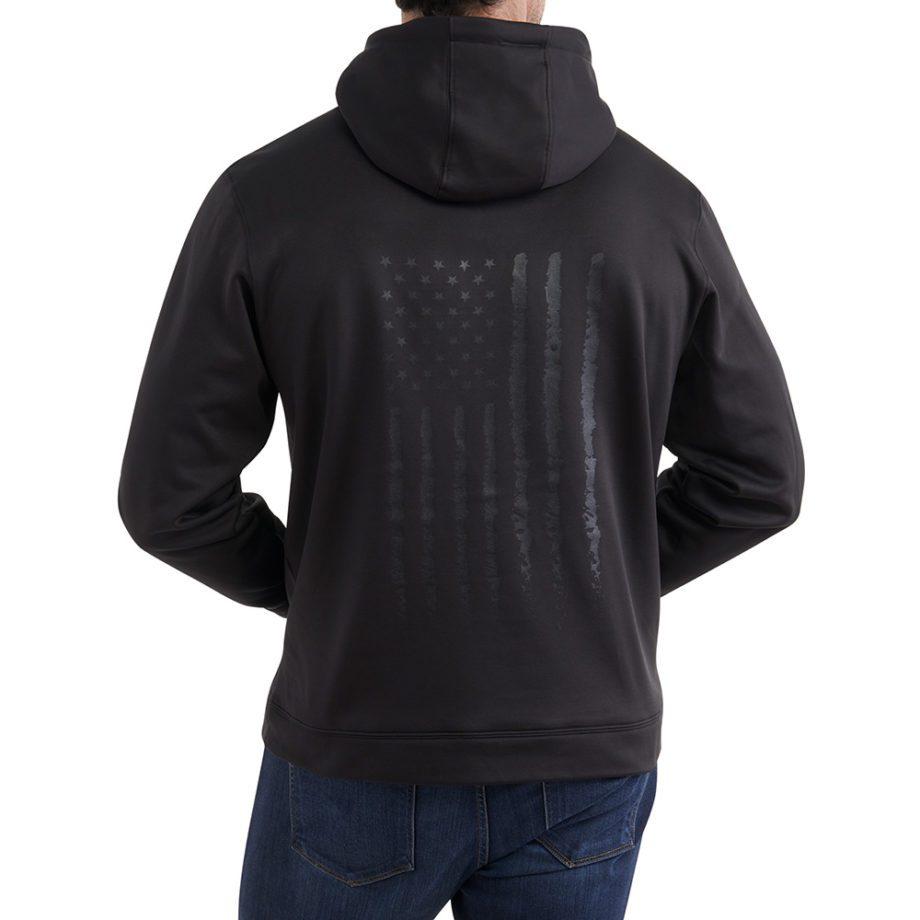 On figure-Back-USCCA Men's Tonal Flag Performance Hooded Sweatshirt