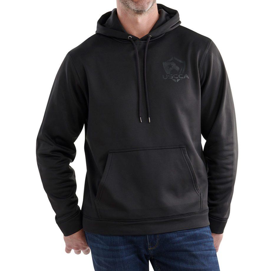On figure-USCCA Men's Tonal Flag Performance Hooded Sweatshirt