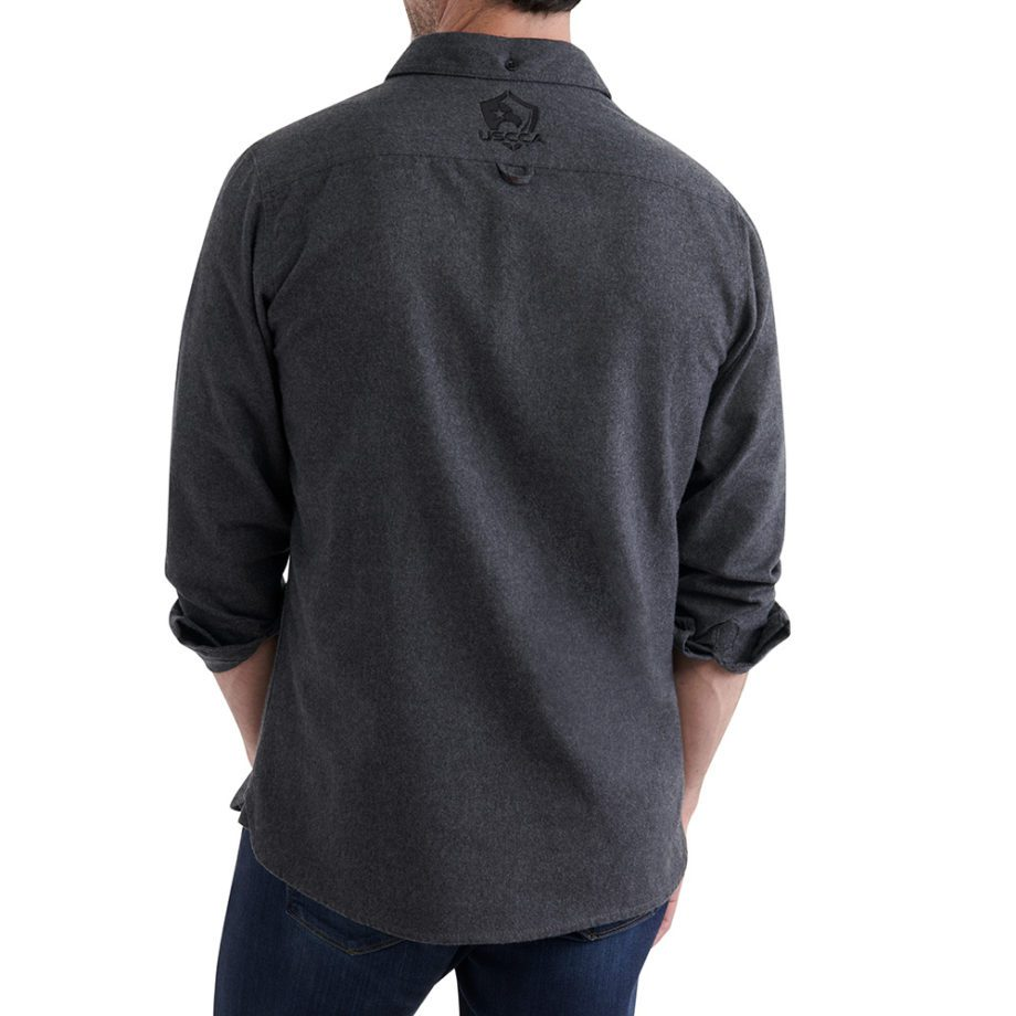 USCCA Men's Charcoal Brushed Flannel Shirt On Figure