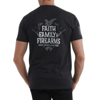 Men's Faith, Family, Firearms Shirt Black Back