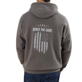 Men's Armed for Good Hooded Sweatshirt back on figure