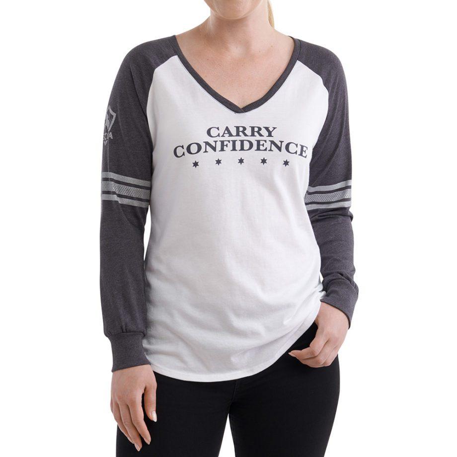 On figure-USCCA Women's Long-Sleeve Striped Sleeve T-Shirt