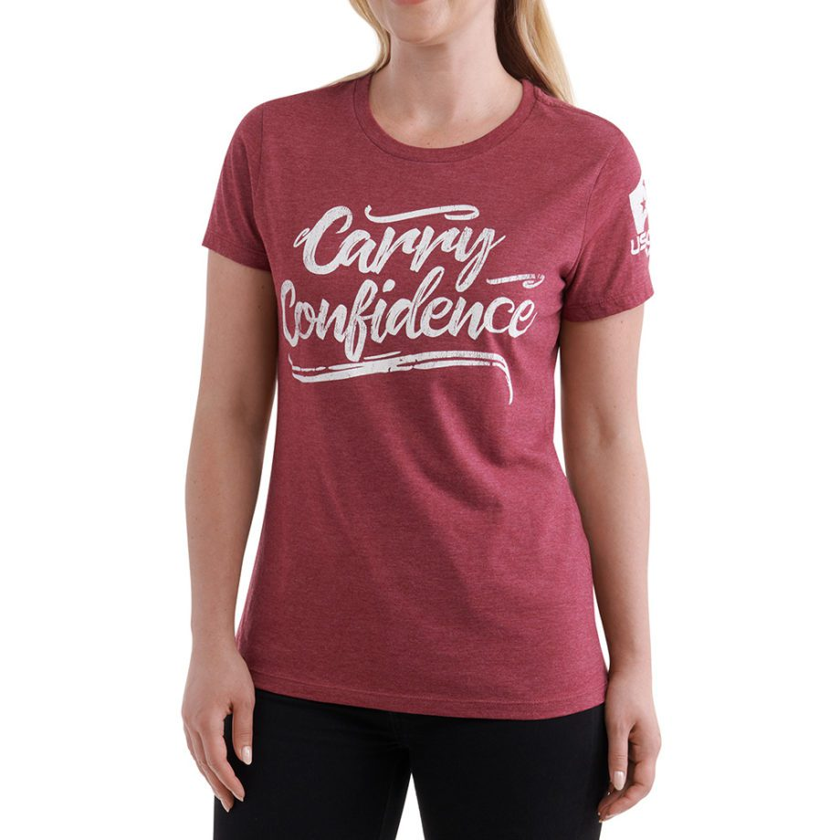 On figure-USCCA Women's Carry Confidence T-Shirt