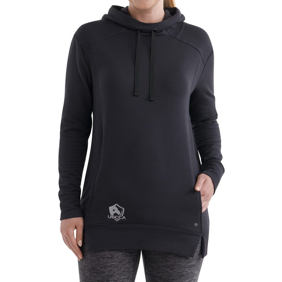 On figure-USCCA Women's Black Embroidered Tunic Hoodie