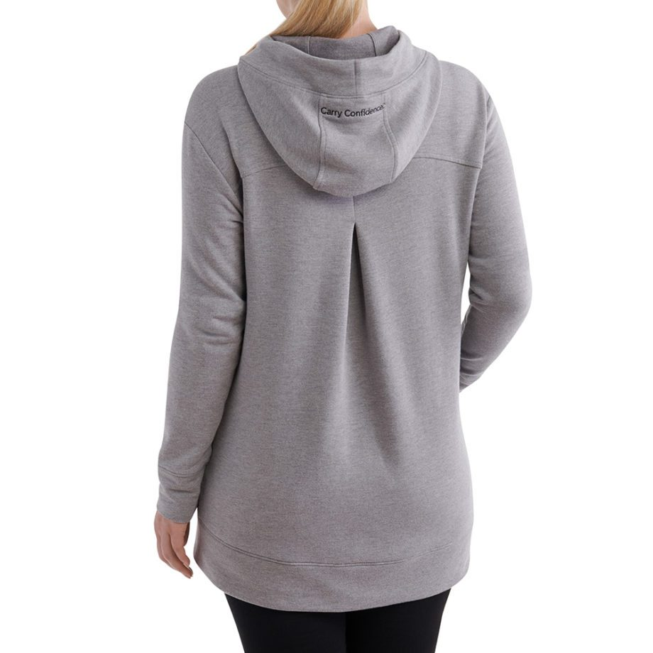 On figure-Back-USCCA Women's Gray Embroidered Tunic Hoodie