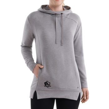 On figure-USCCA Women's Gray Embroidered Tunic Hoodie