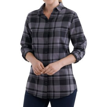 On figure-USCCA Women's Plaid Logo Flannel Shirt