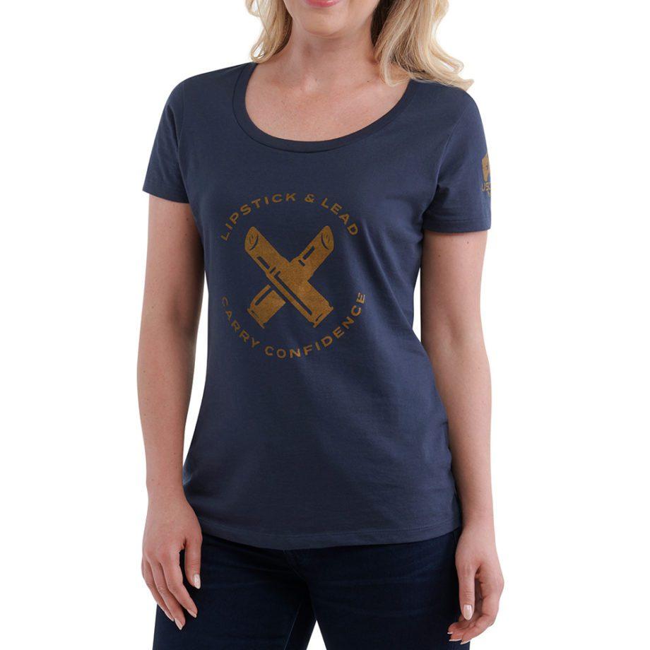 USSCA Women's Short-Sleeve Lipstick & Lead T-Shirt (Navy) Front