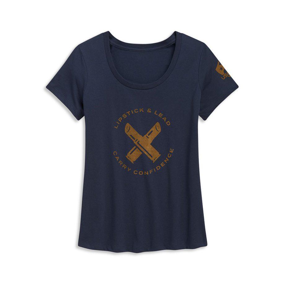 USSCA Women's Short-Sleeve Lipstick & Lead T-Shirt flat lay front