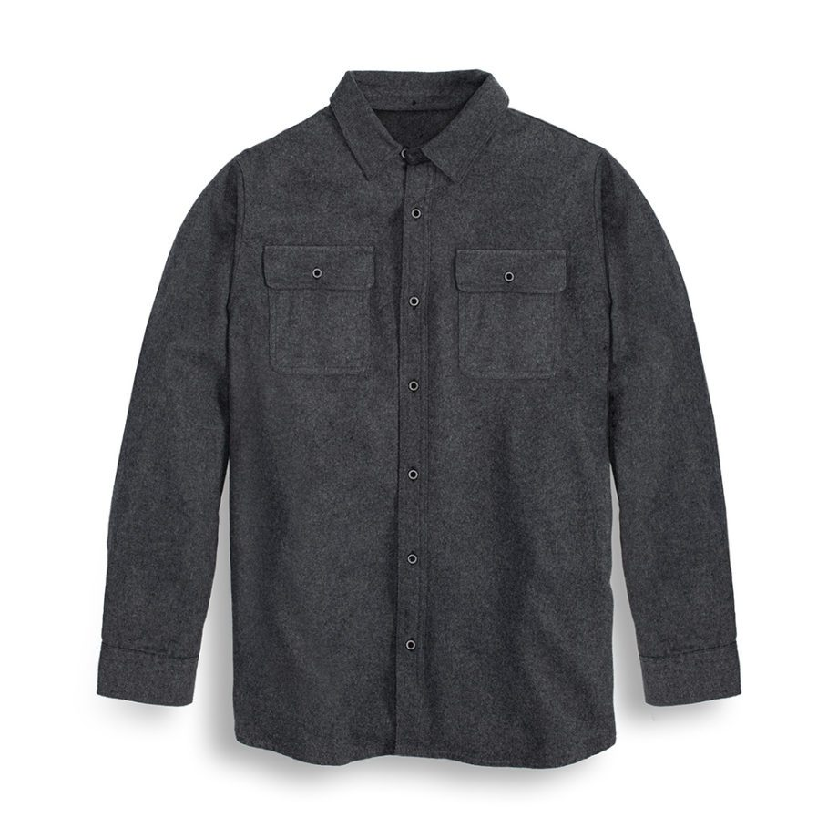 USCCA Men's Charcoal Brushed Flannel Shirt Front