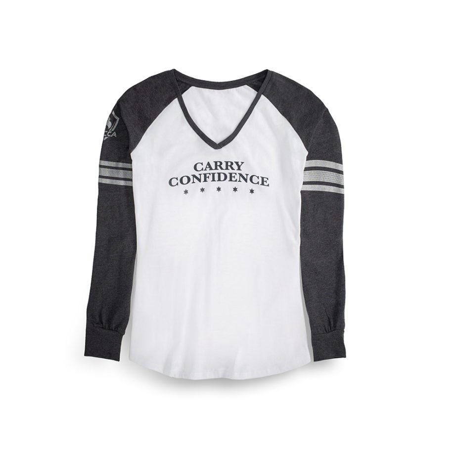 Front-USCCA Women's Long-Sleeve Striped Sleeve T-Shirt