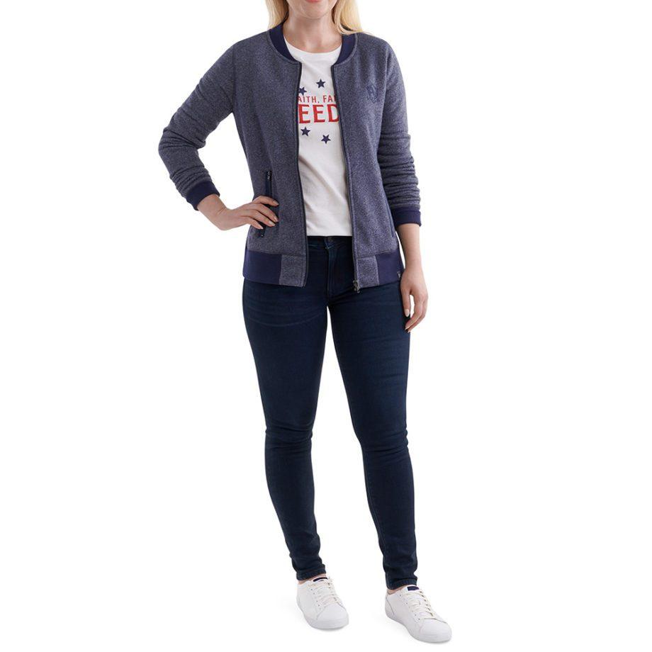 On figure-Outfit-USCCA Women's New Era French Terry Full-Zip Sweatshirt